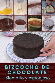 Homemade chocolate cake Very high and fluffy!- Bizcocho de chocolate casero ¡Bien alto y esponjoso! Homemade chocolate cake Very high and fluffy! Sweet Recipes, Cake Recipes, Dessert Recipes, Desserts, Homemade Chocolate, Chocolate Cake, Nutella Recipes, Mini Cakes, Cupcake Cakes