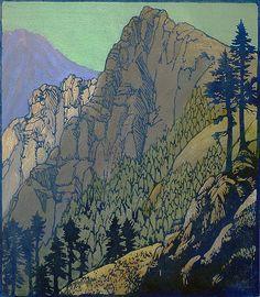 Columbia Crags - FRANCES GEARHART, woodblock print