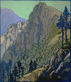 Columbia Crags - FRANCES GEARHART, woodblock print