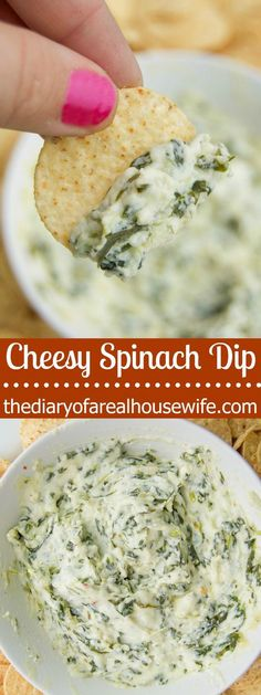 Cheesy Spinach Dip. I LOVE this super simple and yummy snack idea. I served it at my sons birthday party and everyone loved it.