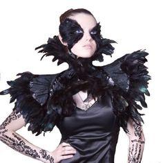 Black Feather Burlesque Steampunk Victorian Gothic Couture Shrug Collar Gaga | eBay