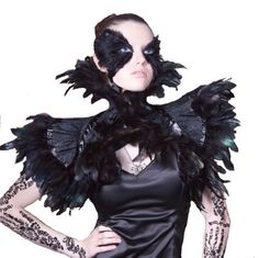 Black Feather Burlesque Steampunk Victorian Gothic Couture Shrug Collar Gaga | eBay