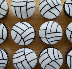 Super cute volleyball cupcakes!!