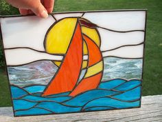 New Nautical Stained Glass Window Hanging Sailboat on Ocean | eBay