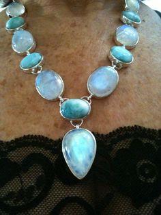 Gorgeous Larimar and Rainbow Moonstone Necklace