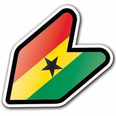 Ghana - JDM Wakaba Leaf Flag Decal Sticker Car Macbook Shoshinsha iPad iPhone #CUSTOMI