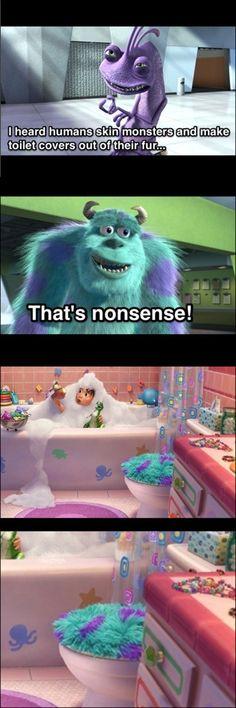 Pixar's Jokes Got a Little Dark Sometimes: Making toilet seat covers by skinning monsters...#MonstersInc