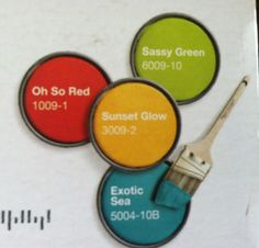 """Think I""""m gonna use these colors (except maybe the yellow) Kitchen color scheme- lowes paint"""
