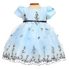 Light Blue Pouf Sleeve Floral Organza Baby Dress
