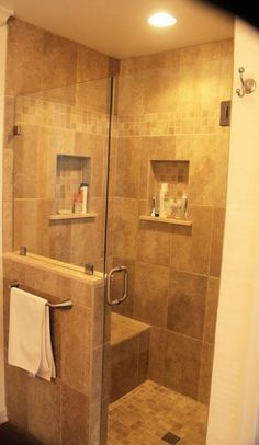 7 Judicious ideas: Stand Up Shower Remodel Diy bathroom shower remodeling before and after.Small Shower Remodeling Diy bathroom shower remodeling before and after. Half Wall Shower, Small Bathroom With Shower, Bathtub Shower, Master Bathroom, Bathroom Showers, Vanity Bathroom, Shower Doors, Shower Alcove, Handicap Bathroom