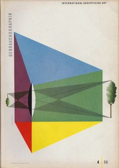 One last magazine cover by Erik Nitsche, also for Gebrauchsgraphic, this time April 1956. As always there is an optic, and, in this case, otpical element to the work.