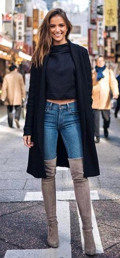 how to wear a black coat : sweater + jeans + over the knee boots