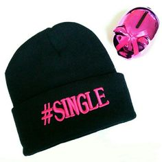 "Black Knit Hashtag ""#Single"" Ski Hat Own it! This is a black knit ski hat with the hashtag ""#Single"" on the front in a hot pink color. Material is acrylic.  Size: OSFM Adult  New without tags. Accessories Hats"