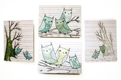 Hand Drawn Cards - Owl Card Set - Blank Notecards - Owl Hand Drawing by boygirlparty on Etsy https://www.etsy.com/listing/198755781/hand-drawn-cards-owl-card-set-blank