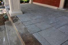Blue / Grey Quartz Paver porch floor overlay Natural Stone Veneer, Natural Stones, Landscape Materials, Landscape Design, Bluestone Pavers, Step Treads, Sandstone Wall, Landscape Maintenance, Porch Flooring