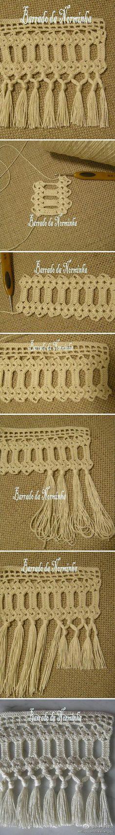 Crochet tassel edging tutorial ༺✿ƬⱤღ  https://www.pinterest.com/teretegui/✿༻: