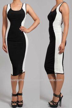 New Women Hourglass Maxi Dress Two-tone Color Block Sleeveless