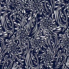"White Drops on Navy Blue Jersey ITY Knit Fabric - A retro inspired fluid drops design in white with a navy blue background  ITY knit.  Light to mid weight jersey ITY.  ITY (Interlock Twisted Yarn) knit has a smooth hand and fluid drape.   Largest splash measures 6 1/2"".  Great for swimwear, coverups, skirts, wrap dresses, tops, diapers, dance wear and more!  ::  $6.50"