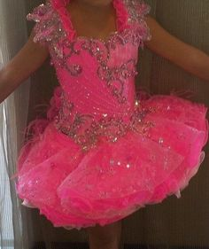 GIRLS MEGA GLITZ NATIONAL PINK PAGEANT DRESS.. CUSTOM MADE BY MICHAEL BOOTH 4-7