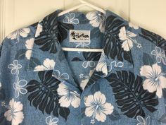 Hawaiian Aloha Shirt Howie Hibiscus Flowers Floral Palm Leaves Blue Cotton 2X #Howie #Hawaiian