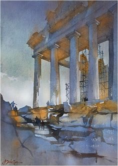 """""""to the acropolis"""" thomas w schaller watercolor (on vintage fabriano paper) 24x17 inches 09 april 2014"""