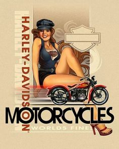 Best vintage motorcycle girl pin up ideas Harley Davidson Posters, Motos Harley Davidson, Classic Harley Davidson, Vintage Harley Davidson, Motorcycle Tattoos, Motorcycle Art, Bike Art, Motorcycle Posters, Scooter Moto