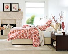 Coral Bedroom | Okay LOVE the prints above that monolithic fireplace. Throw in a ...