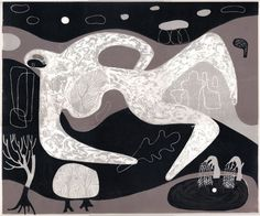 Landscape and Figure with Sacred Well - a linocut print by Melvyn Evans – St. Jude's Prints