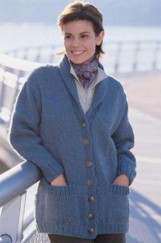 Shawl Collar Cardigan in Lion Brand Wool-Ease Chunky - 1318 | Knitting Patterns | LoveKnitting