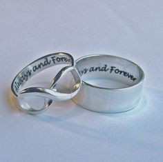 Her Infinity His band Always and Forever Rings by MineOverMatter, $144.95