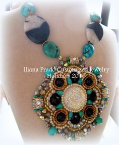 Embroidered medallion #handmade one of a kind #necklace in black agate, turquoise, crystal pearls and seed beads