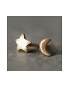 Tiny Moon and Star Stud Earrings. These are the same kind of earrings that I got my ears pierced with! Awwe...