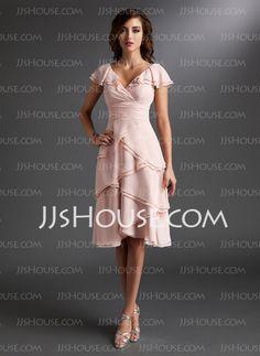 Homecoming Dresses - $127.99 - A-Line/Princess V-neck Knee-Length Chiffon Homecoming Dress With Ruffle (022009406) http://jjshouse.com/A-Line-Princess-V-Neck-Knee-Length-Chiffon-Homecoming-Dress-With-Ruffle-022009406-g9406