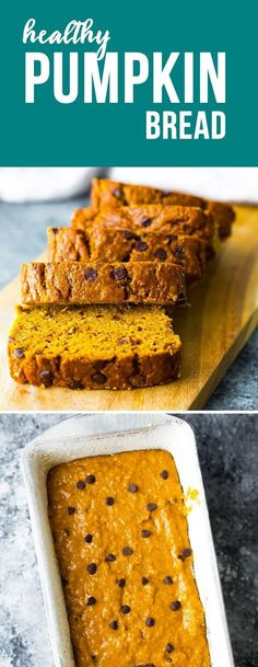 This healthy pumpkin bread recipe is perfect with a cup of coffee! With half who… This healthy pumpkin bread recipe is perfect with a cup of coffee! With half whole wheat flour, very little oil, and a whole lot of pumpkin flavor. Healthy Snacks For Kids, Healthy Dessert Recipes, Gourmet Recipes, Snack Recipes, Bread Recipes, Sausage Recipes, Healthy Meals, Healthy Holiday Recipes, Healthy Eating