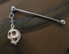 Industrial Barbell Piercing Jewelry White Turquoise Skull Charm Dangle Bar 14g 14 G 16g 16 Gauge Ear Bar Earring 2 inch