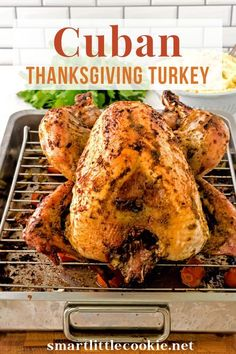 This oven roasted turkey recipe is marinated with homemade garlic mojo and Latin seasonings then baked to golden brown perfection. This is an easy and flavorful turkey recipe perfect for your Thanksgiving dinner. The holidays are approaching, which means it's time to bring out all the fabulous recipes that merit the occasion. | Smart Little Cookie @smatlilcookie #cubanturkeyrecipes #thanksgivingrecipes #turkeyrecipes #thanksgivingturkey #smartlittlecookie