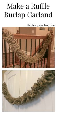 In this tutorial, I show you how to make a Ruffle Burlap Garland. It is very easy and you only need 2 things to make it! (How To Make Christmas Garland) Deco Mesh Garland, Rag Garland, Burlap Garland, Garland Ideas, Burlap Wreaths, Diy Christmas Garland, Rustic Christmas, Christmas Tree Decorations, Burlap Decorations