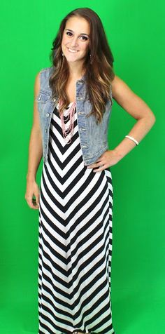 Chevron maxi and denim vest from #Kohls #WhatYaWearinWednesday #WhatAreWeWearing