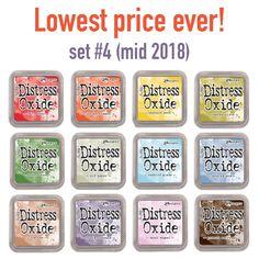 Tim Holtz Ranger Distress Oxide Ink Bundle K Ground Espresso Four 3 x 3 Pads Hickory Smoke Old Paper Tea Dye Three New Fall 2018