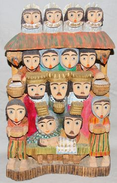 062244: POLISH FOLK ART CARVED WOOD NATIVITY SCENE, : Lot 62244