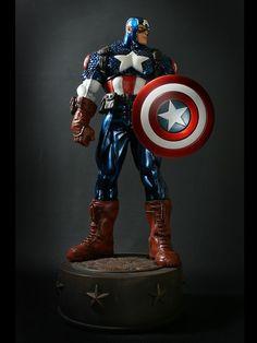 Bowen Designs Marvel Ultimate Captain America Metallic Statue New | eBay