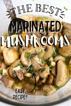 Marinated Mushrooms are easy to prepare and packed with delicious flavors. Enjoy them as appetizers or on pasta, pizza, or burgers. #marinatedmushrooms #easymushroomrecipe Marinated Mushrooms, Stuffed Mushrooms, Easy Mushroom Recipes, Main Dishes, Side Dishes, Holiday Recipes, Party Recipes, Vegetarian Paleo, Barbecue Recipes