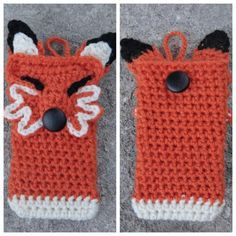 Handmade Crochet Fox Cell Phone Case- *inspiration*