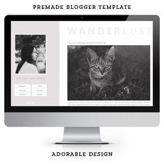 Modern premade Blogger template / Wanderlust / Blog Design.
