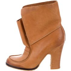 Pre-owned Maison Margiela Leather Ankle Boots ($225) ❤ liked on Polyvore featuring shoes, boots, ankle booties, neutrals, bootie boots, leather ankle boots, tan booties, tan leather boots and slip on ankle boots