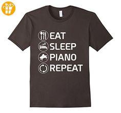 Eat Sleep Piano Repeat Pianist T-Shirt Herren, Größe M Asphalt (*Partner-Link)