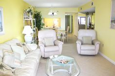 Living room of a 2 bedroom condo at Villa Madeira on Madeira Beach, Florida