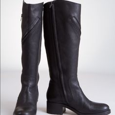 "Vera Wang made in Italy Moto Boots Scrumptious black pebbled leather, edgy zipper detailing, lux suede lining, perfect chunky heel all by Vera Wang.  Very lightly worn in excellent condition.  2"" heel with 1/2"" platform sole, shaft is 15 3/4"" tall and approx 14"" in diameter. Vera Wang Shoes Combat & Moto Boots"