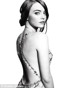 Dynamic duo: The HFPA's 74th Golden Globe Awards winners and nominees posed for black and white official portraits by celebrity photographers Mert Alas and Mac Piggot, the famed duo of Mert and Marcus; Emma Stone of La La Land shown here