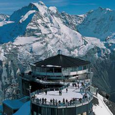 Piz Gloria restaurant atop the Schilthorn in the Alps...had the most amazing hot chocolate.